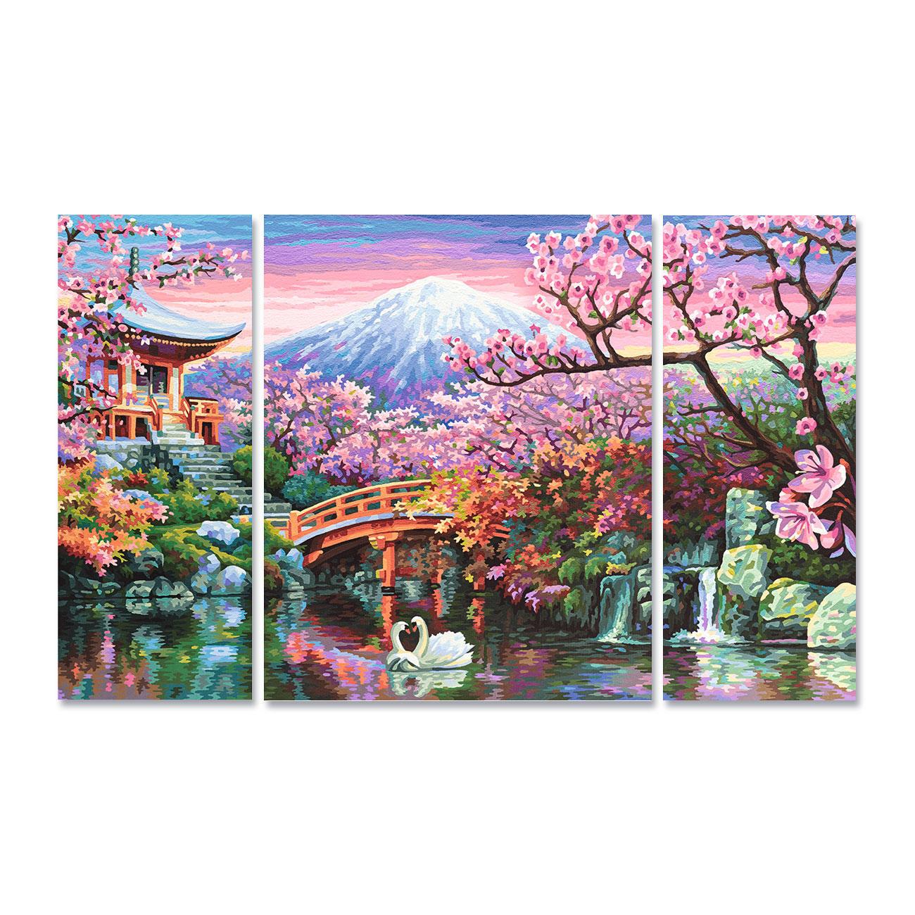 malen nach zahlen triptychon kirschbl te in japan. Black Bedroom Furniture Sets. Home Design Ideas