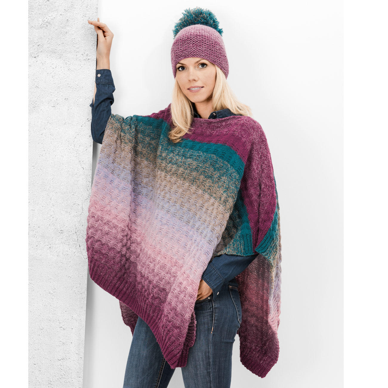 Anleitung 4408 Poncho Ca 104 X 68 Cm Aus Creative Wool Dégradé