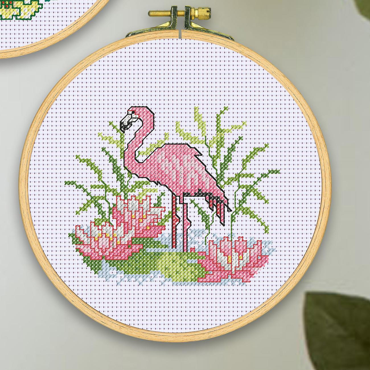 stickbild mit holzrahmen flamingo. Black Bedroom Furniture Sets. Home Design Ideas