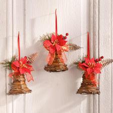 3 Türanhänger-Glocken im Set, aus Rattan, je 15 cm Weihnachtszeit ist Dekozeit.