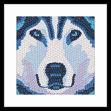 """Paillettenbild """"Husky"""" Künstlerische Dekorationen mit schillerndem Effekt"""