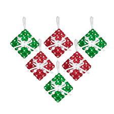 6 Geschenke im Set, 5 x 5 cm Glamouröser Perlen-Weihnachtsschmuck – als Komplettpackung zum kreativen Selbermachen.