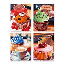 """Malen nach Zahlen Quattro """"Cupcakes"""" Quattro - 4 Bilder im Set."""