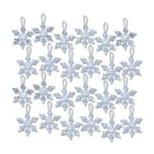 24 Mini-Schneeflocken im Set, Ø 5 cm Glamouröser Perlen-Weihnachtsschmuck