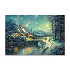 """Puzzle """"Winterliches Mondlicht"""" Puzzles nach Kunstwerken von Thomas Kinkade"""