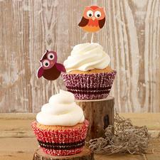 "Cupcake Deko-Sets ""Eule"" oder ""Janosch"" Cupcakes - süße Verführer im bunten Gewand"
