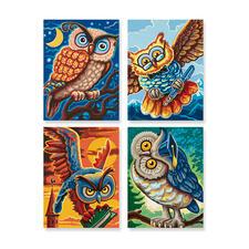 """Malen nach Zahlen Quattro """"Vogel der Weisheit"""" Quattro - 4 Bilder im Set."""