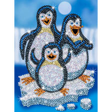 """Paillettenbild für Kinder """"Pinguine"""" Glitzernde Paillettenbilder – ganz einfach gesteckt."""