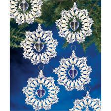 10 Kristall-Kränze im Set, Ø 7 cm Glamouröser Perlen-Weihnachtsschmuck – in Komplettpackungen zum kreativen Selbermachen.