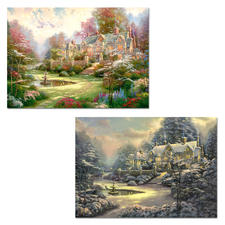 "2 Puzzles im Set ""Landsitz/Winter in Spring Gate"" Puzzles nach Motiven von Thomas Kinkade"
