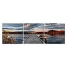 """Malen nach Zahlen """"Triptychon Sonnenaufgang am See"""" Malen nach Zahlen."""