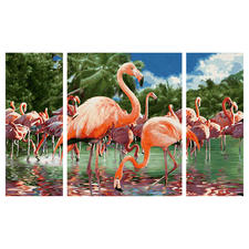 Malen nach Zahlen - Triptychon Flamingo Malen nach Zahlen
