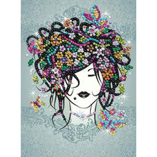 Paillettenbild für Kinder - Blumenmädchen Glitzernde Paillettenbilder – ganz einfach gesteckt
