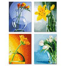 """Malen nach Zahlen Quattro """"Blumen im Licht"""" Malen nach Zahlen Quattro - 4 Bilder im Set."""