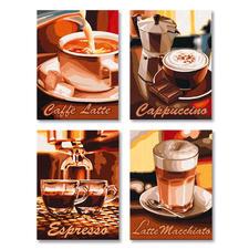 """Malen nach Zahlen Quattro """"Kaffee-Pause"""" Malen nach Zahlen Quattro - 4 Bilder im Set."""