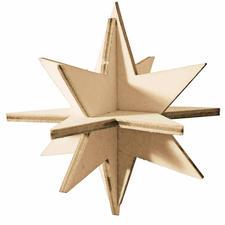 Steckstern aus Holz Trägermaterial – zum Gestalten von weihnachtlichen Dekorationen.