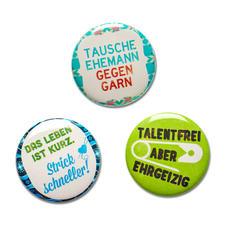 Strickimicki Ansteck-Buttons, 3er-Set witzig, frech, für jeden Strickfan..