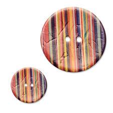 Jim Knopf Streifenknopf, Bunt, Kokos, bedruckt, 1 Stück Streifenknopf, Bunt, Kokos, bedruckt, 1 Stück