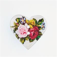 """Jim Knopf Herzknopf """"Rosen"""", Weiß, 25 mm, 1 Stück"""