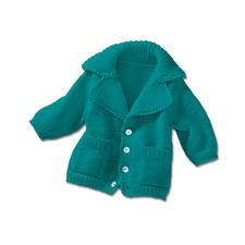 Modell 446/4, Kinderjacke, doppelfädig, mit eingearbeiteten Taschen und Revers aus Merino-Supersoft von Junghans-Wolle