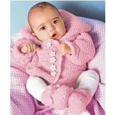 Modell 477/0, Babyjacke und Schühchen mit Häkelrändern aus Micro von Junghans-Wolle Modell 477/0, Gestrickte Babyjacke und Schühchen mit Häkelrändern aus Micro von Junghans-Wolle