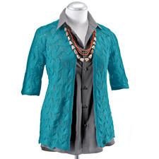 Modell 451/1, Damenjacke ohne Halsausschnitt-Abnahmen aus Seidana® von Junghans-Wolle Modell 451/1, Damenjacke aus Seidana® von Junghans-Wolle