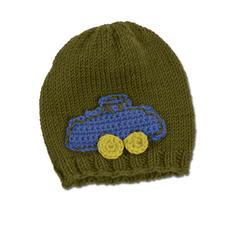 Modell 332/3, Mütze mit Häkelapplikation aus Merino-Classic von Junghans-Wolle