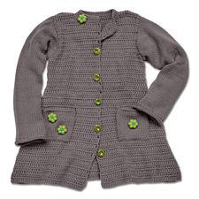 Modell 160/5, Kindermantel, gehäkelt und gestrickt mit Schal aus Merino-Cotton von Junghans-Wolle