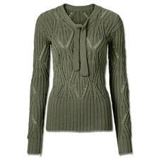 Modell 060/6, Ajourmuster Pullover mit Schleife aus Merino-Cotton von Junghans-Wolle