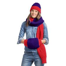 Modell 079/6, Mütze, Schal und Muff aus Achat und Novata von Junghans-Wolle