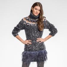 Modell 089/6, Damenpullover aus Feelana Print und Feelana Uni von Junghans-Wolle