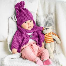 Modell 470/6, Baby-Jacke, Mütze und Schal aus Novata von Junghans-Wolle
