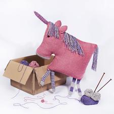 Modell 172/7, Einhornkissen aus Landwolle von Junghans-Wolle