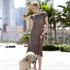Modell 407/3, Damenkleid mit angehäkelter Bordüre aus Seidana® von Junghans-Wolle