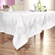Kreuzstich-Tischwäsche aus feinem Baumwollsatin. Kreuzstich-Tischdecken auf feinem Baumwollsatin.
