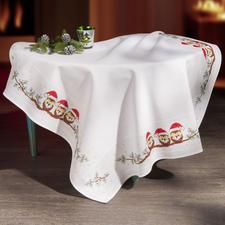 Tischdecke - Weihnachts-Eulen.