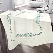 Edle Jacquard-Damast-Tischdecke - Blütenranke Stilvoll & Elegant.