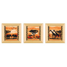 3 Miniatur-Kreuzstichbilder mit Rahmen im Set Die Schönheit Afrikas – umgesetzt in eindrucksvolle Stickideen.