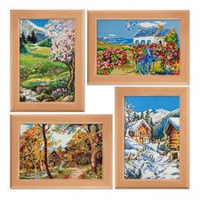 4 Jahreszeiten-Gobelins mit Holzrahmen Die besondere Handarbeit – farbig vorgemalte Gobelins.