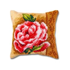 """Kreuzstichkissen """"Rose"""" Farbenfrohe Wohnraumdeko – im einfachen Kreuzstich schnell gestickt."""