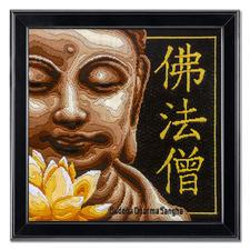 """Longstichbild """"Buddha"""" Longstich – kinderleicht und schnell gestickt."""
