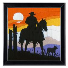 """Longstichbild """"Cowboy"""" Longstich – kinderleicht und schnell gestickt."""