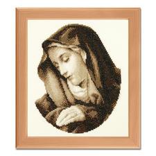"Stickbild ""Heilige Maria"" Warme Sepia-Töne"