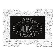 """Stickbild """"Love"""" mit Ornamentrahmen Wunderschöne Schriftbilder im einfachen Kreuzstich selbst gestickt."""