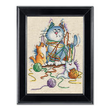 """Kreuzstichbild """"Außer Kontrolle"""" Tierisch gut – Alles rund um die Katze."""