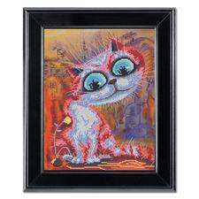 """Stickbild """"Katze"""" Kreuzstich auf farbig bedrucktem Aida."""