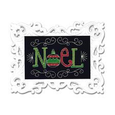 """Stickbild mit Ornamentrahmen """"Noel"""" Moderne Stickidee."""
