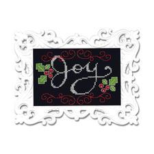 "Stickbild mit Ornamentrahmen ""Joy"" Moderne Stickidee."