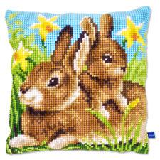 """Kreuzstichkissen """"Kaninchen, groß & klein"""""""