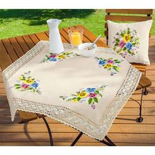 Tischdecke und Kissen (leider ausverkauft), Stiefmütterchen-Bouquet